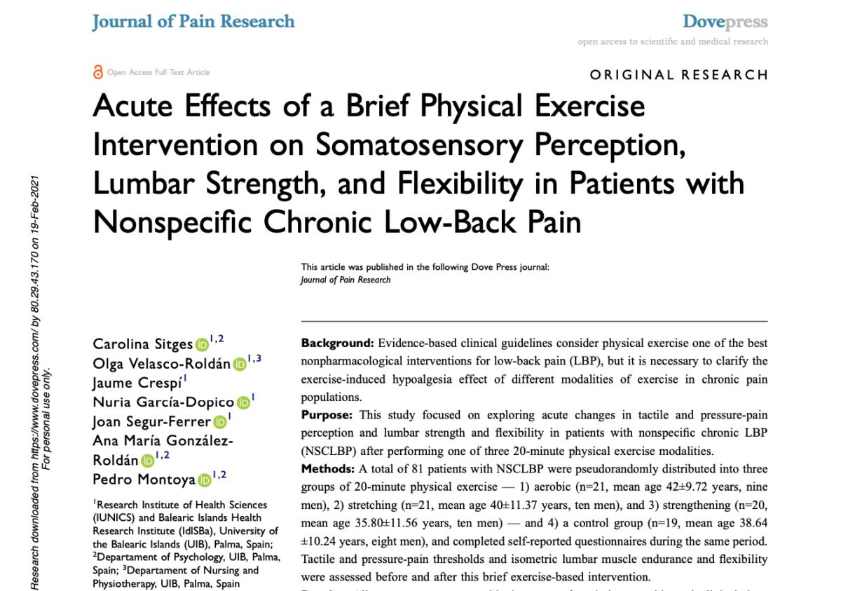 Publicado el nuevo artículo de los investigadores del LoLA en el Journal of Pain Research